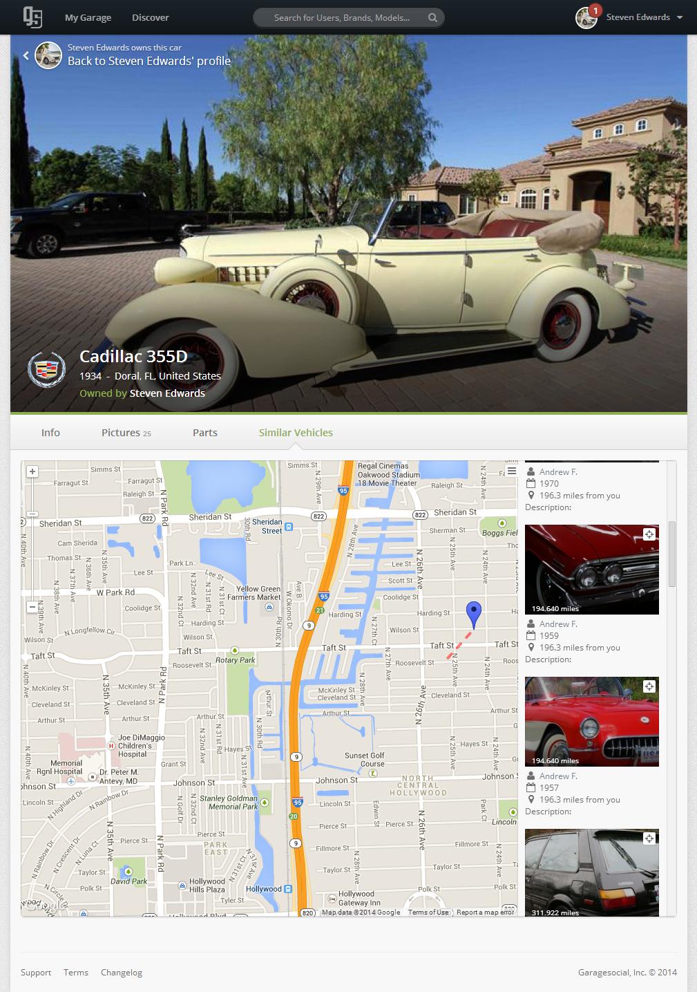 Cadillac 355D Map